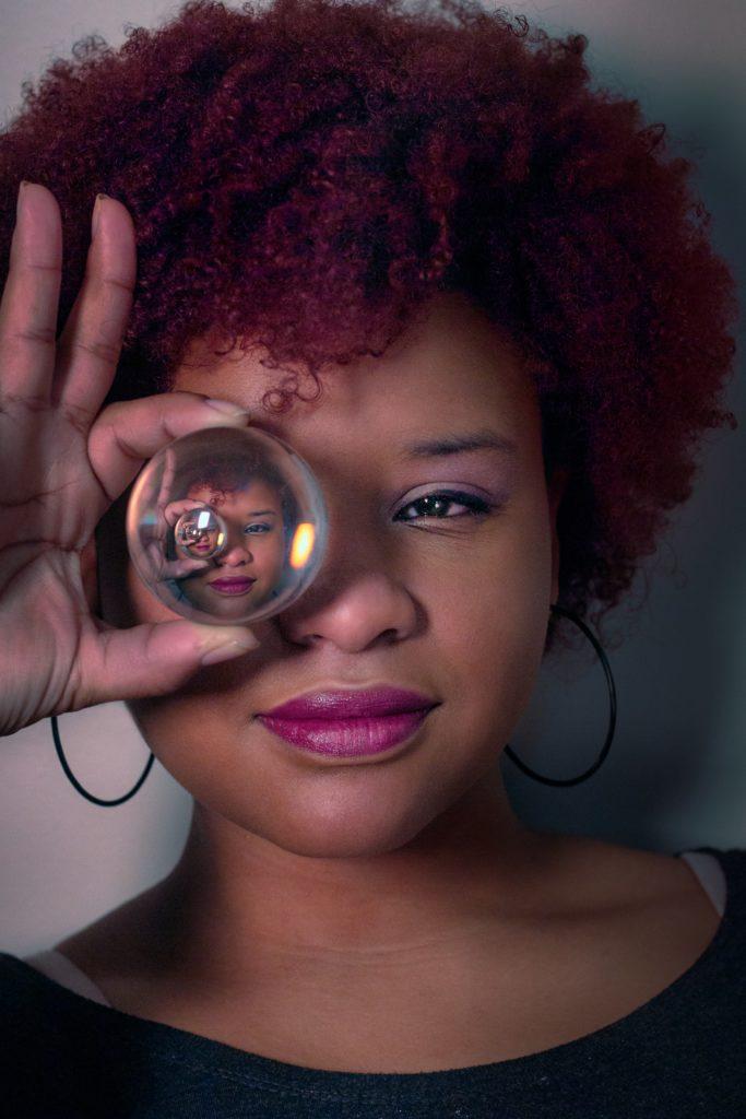 skin, crystal ball, future you, future skin, see the future, glimpse, african lady,